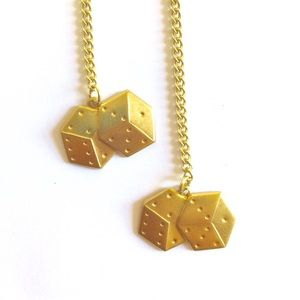 Gold dice drop earrings